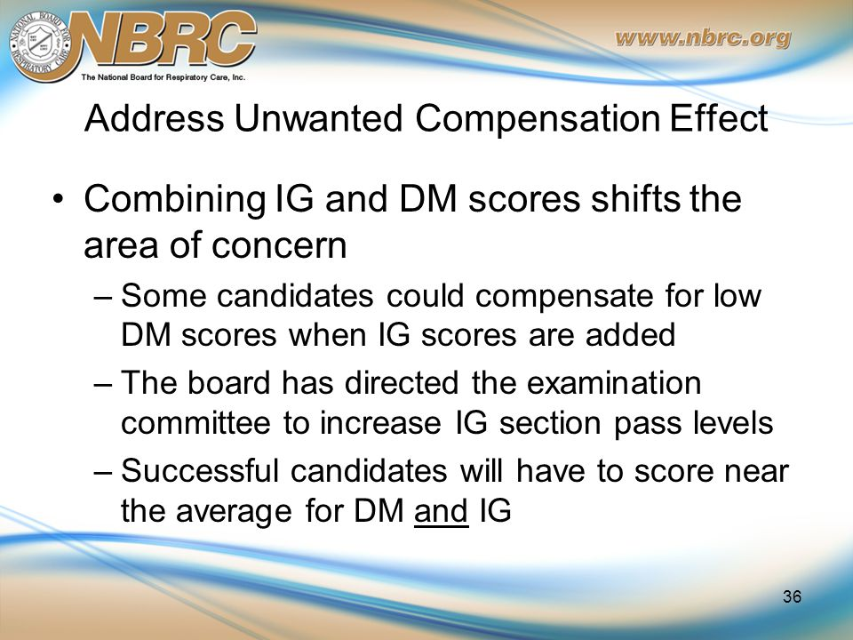 Address Unwanted Compensation Effect Combining IG and DM scores shifts the area of concern –Some candidates could compensate for low DM scores when IG scores are added –The board has directed the examination committee to increase IG section pass levels –Successful candidates will have to score near the average for DM and IG 36