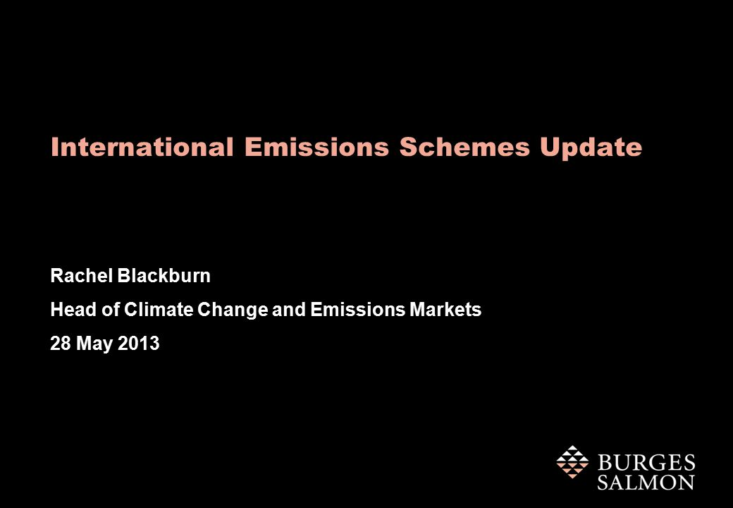 International Emissions Schemes Update Rachel Blackburn Head of Climate Change and Emissions Markets 28 May 2013