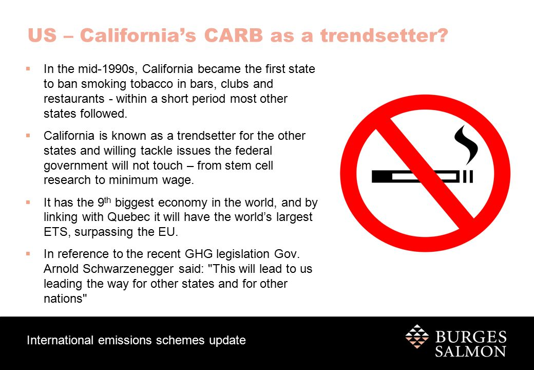 International emissions schemes update US – California's CARB as a trendsetter.