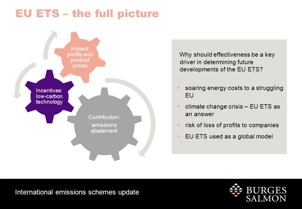 International emissions schemes update EU ETS – the full picture Contribution to emissions abatement:  Over the past 8 years academic studies (top down, and bottom up) show abatement attributable to the EU ETS was around 2-4% of the capped emissions – which is higher than the impact of individual energy policies.