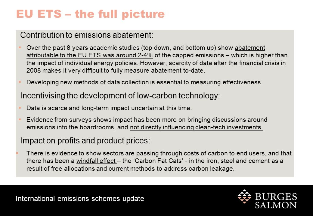 International emissions schemes update EU-ETS – current challenges Carbon leakage Price abuse and fraud Linking Data collection Political challenges Carbon price Recession