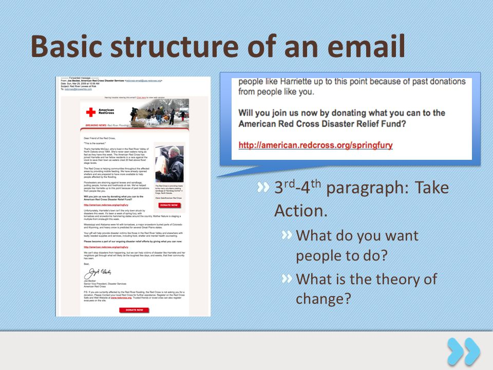 Basic structure of an email 3 rd -4 th paragraph: Take Action. What do you want people to do? What is the theory of change?