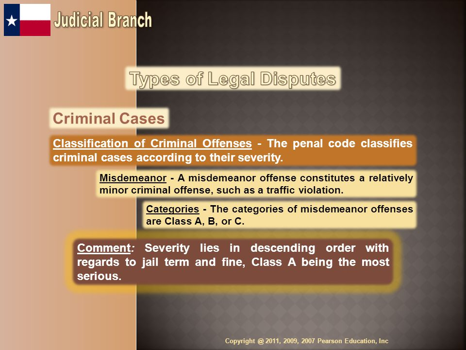 Criminal Cases Classification of Criminal Offenses - The penal code classifies criminal cases according to their severity.