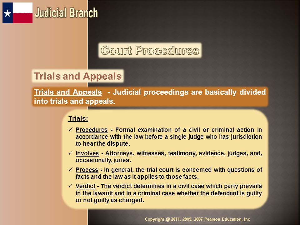 Trials and Appeals Trials and Appeals - Judicial proceedings are basically divided into trials and appeals.