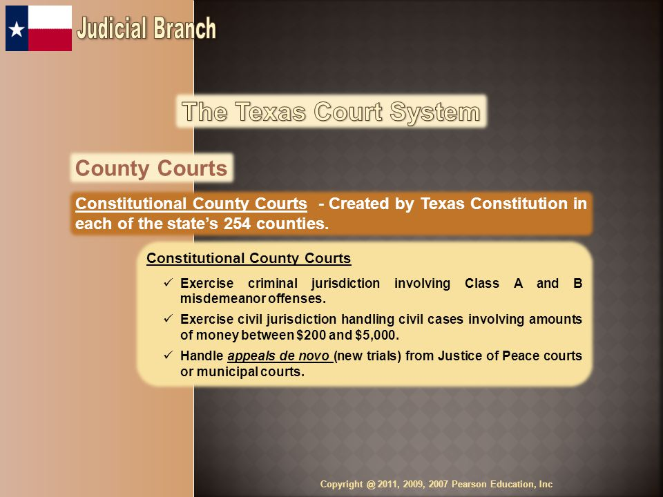 County Courts Constitutional County Courts - Created by Texas Constitution in each of the state's 254 counties.