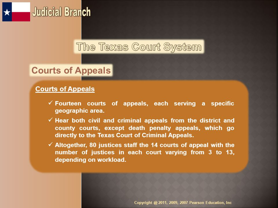 Courts of Appeals Fourteen courts of appeals, each serving a specific geographic area.