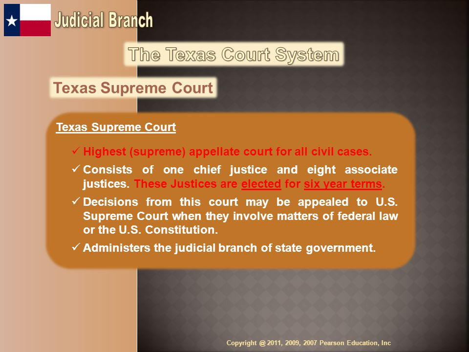 Texas Supreme Court Highest (supreme) appellate court for all civil cases.