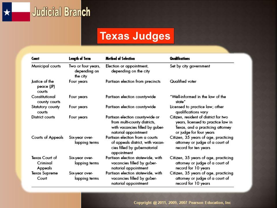 Texas Judges Copyright @ 2011, 2009, 2007 Pearson Education, Inc Table 10.1 Texas Judges