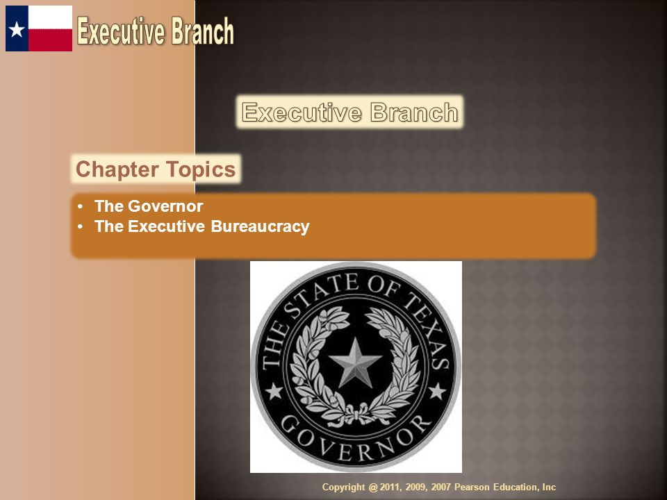 Chapter Topics The Governor The Executive Bureaucracy Copyright @ 2011, 2009, 2007 Pearson Education, Inc