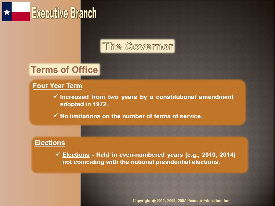 Terms of Office Four Year Term Increased from two years by a constitutional amendment adopted in 1972.