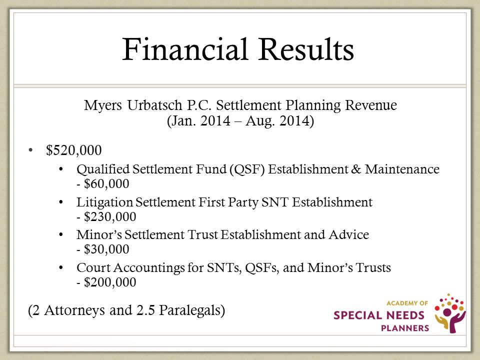 Financial Results Myers Urbatsch P.C. Settlement Planning Revenue (Jan.