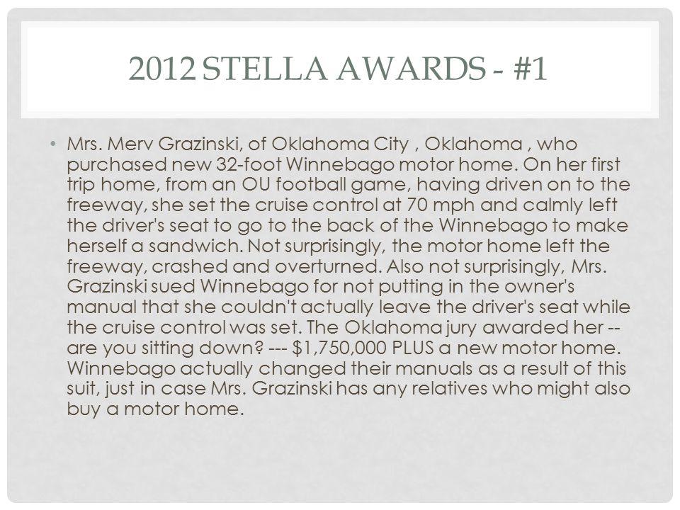 2012 STELLA AWARDS - #1 Mrs.
