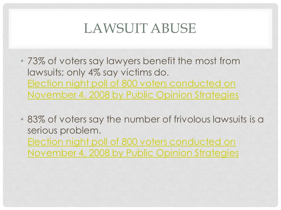 LAWSUIT ABUSE 73% of voters say lawyers benefit the most from lawsuits; only 4% say victims do.