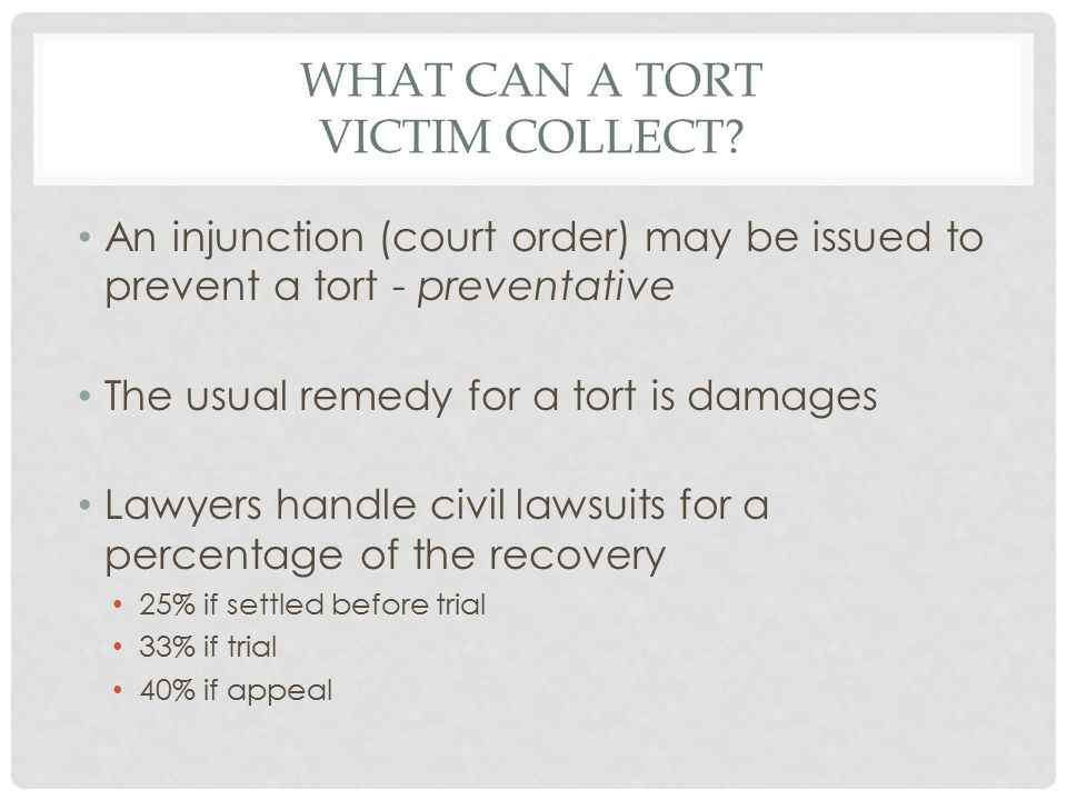 WHAT CAN A TORT VICTIM COLLECT.