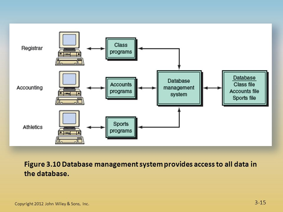Figure 3.10 Database management system provides access to all data in the database.