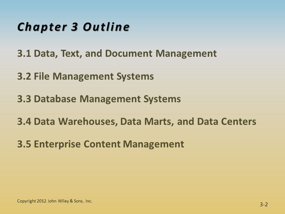 Chapter 3 Learning Objectives  Describe data, text, and document management, and their impacts on performance.