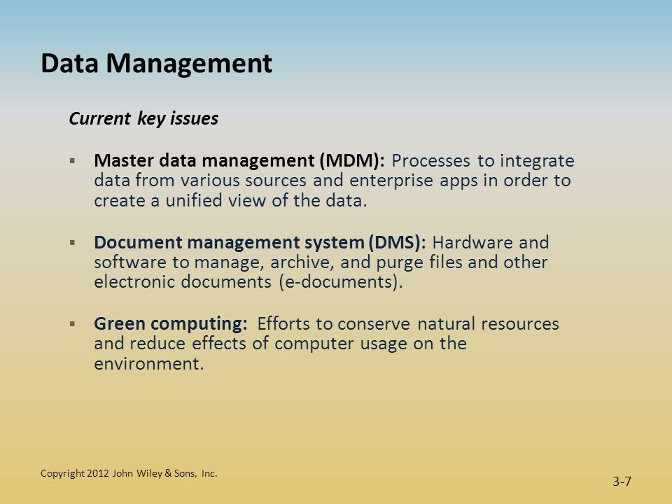 Functions of a Database Management System (DBMS)  Data filtering and profiling: Inspecting the data for errors, inconsistencies, redundancies, and incomplete information.