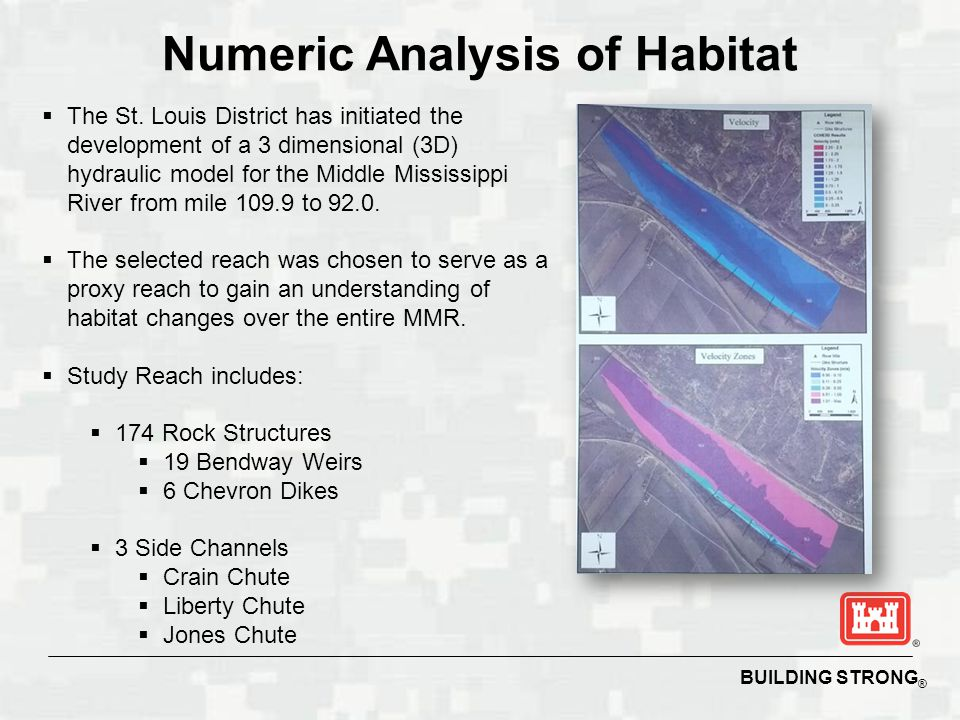 BUILDING STRONG ® Numeric Analysis of Habitat  The model will be calibrated to observed data and will be used to determine velocity values at various depths for three in-bank discharges.