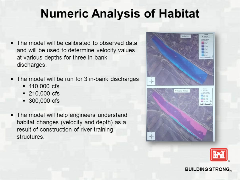 BUILDING STRONG ® Numeric Analysis of Habitat  The model will be calibrated to observed data and will be used to determine velocity values at various depths for three in-bank discharges.