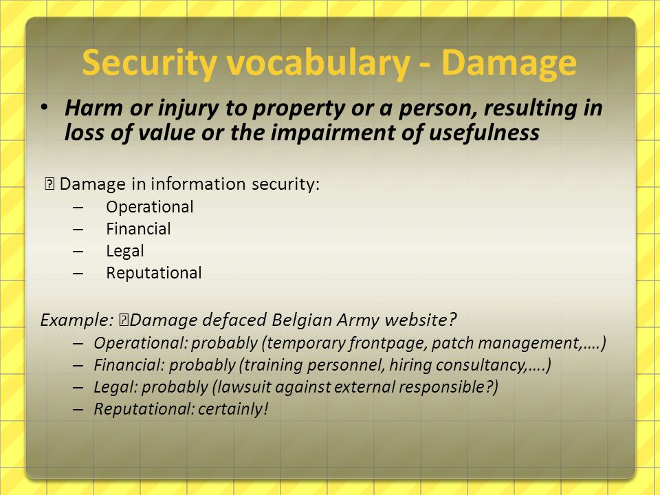 Security vocabulary - Damage Harm or injury to property or a person, resulting in loss of value or the impairment of usefulness — Damage in informatio
