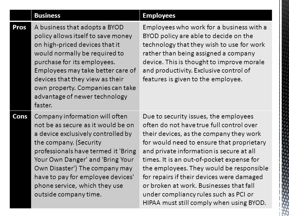 BusinessEmployees ProsA business that adopts a BYOD policy allows itself to save money on high-priced devices that it would normally be required to pu