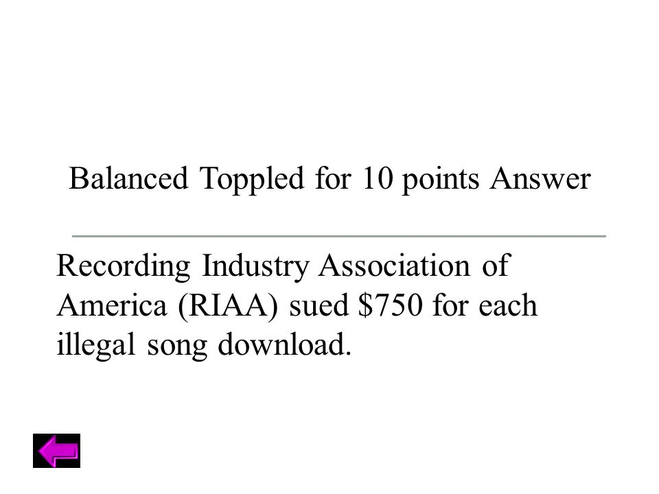 Balanced Toppled for 10 points Answer Recording Industry Association of America (RIAA) sued $750 for each illegal song download.