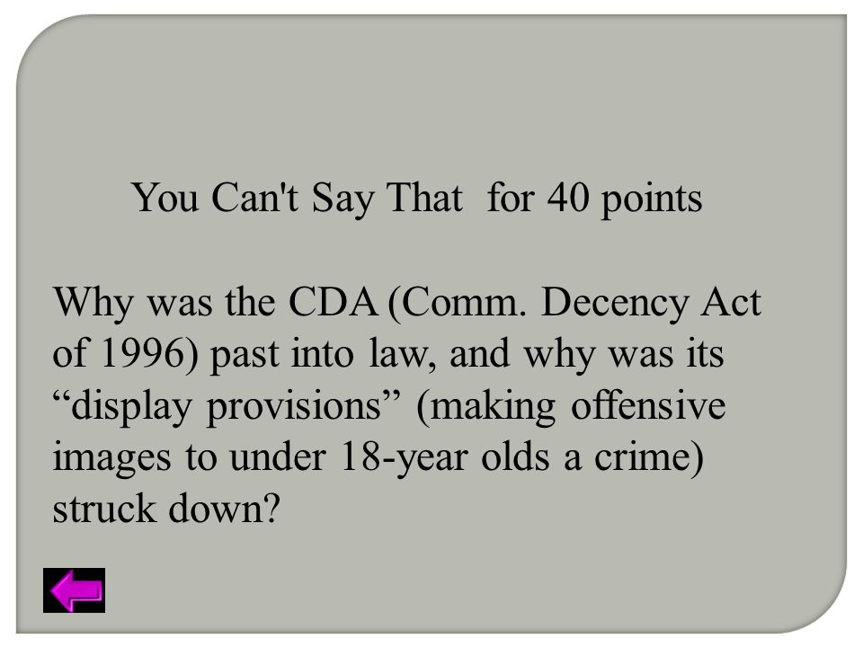 You Can t Say That for 40 points Why was the CDA (Comm.