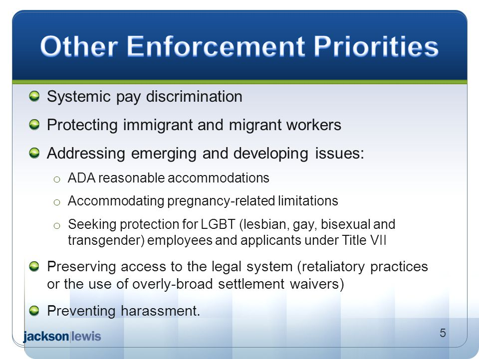 Systemic pay discrimination Protecting immigrant and migrant workers Addressing emerging and developing issues: o ADA reasonable accommodations o Acco
