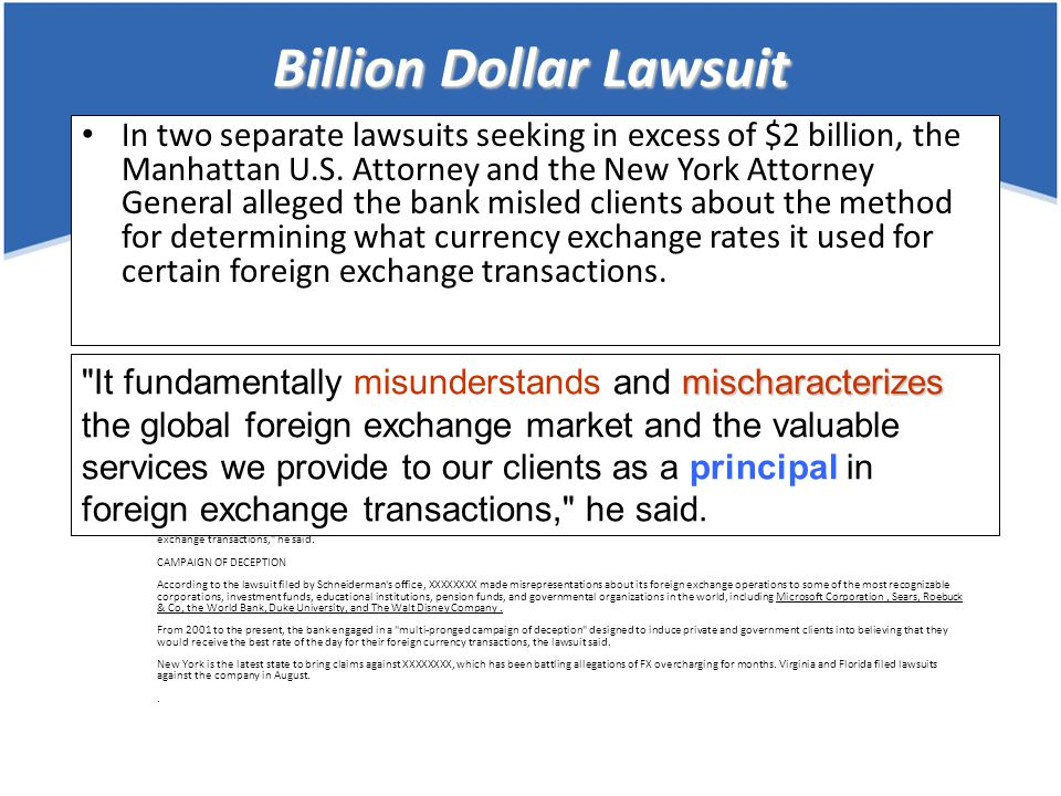 Billion Dollar Lawsuit NY prosecutors sue XXXXXXXX over forex claims Andrew Longstreth Reuters 11:17 p.m.