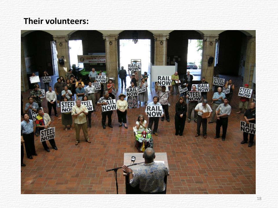 Organizing protests Testifying at City Council Lobbying legislators Presentations to organizations Rotary Clubs Lions Clubs Condo directors Business groups Neighborhood Boards Creating coalitions Responding to blog postings Responding to newspapers Emailing supporters Dealing with the media Write letters to the editor ACTIONS: There's no spontaneous outpouring of enthusiastic supporters; people organize it.
