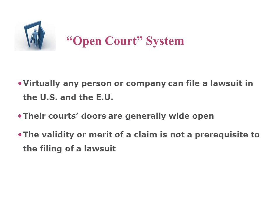 The Open Court System Virtually any person or company can file a lawsuit in the U.S.