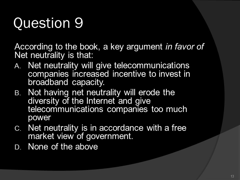 Question 9 According to the book, a key argument in favor of Net neutrality is that: A.