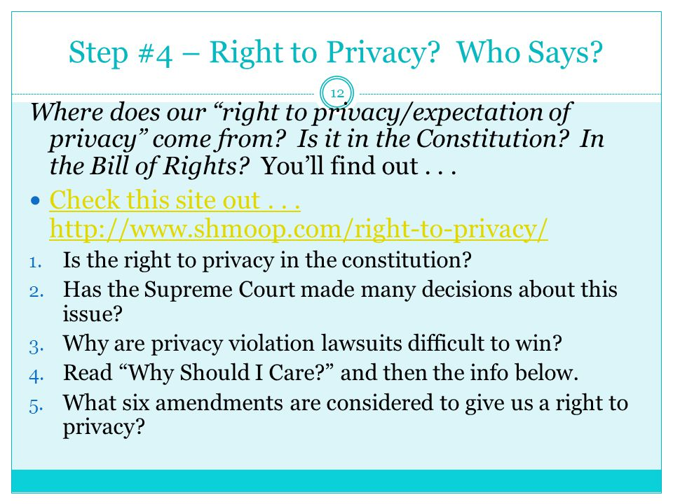 Step #4 – Right to Privacy.Who Says.