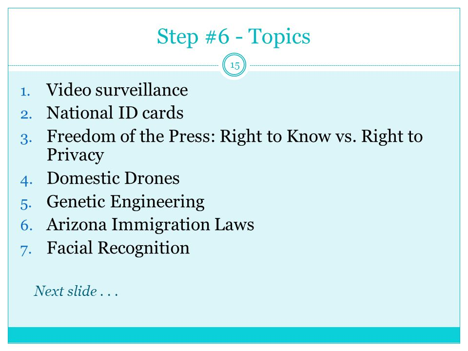 Step #6 - Topics 1. Video surveillance 2. National ID cards 3.
