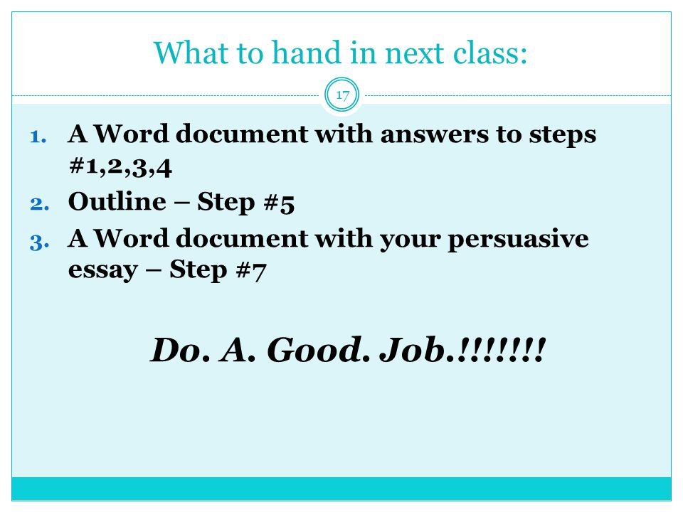 What to hand in next class: 1. A Word document with answers to steps #1,2,3,4 2.