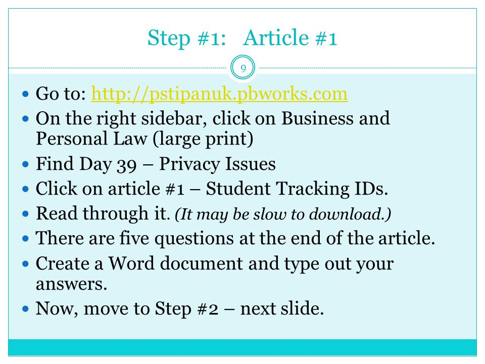 Step #1: Article #1 9