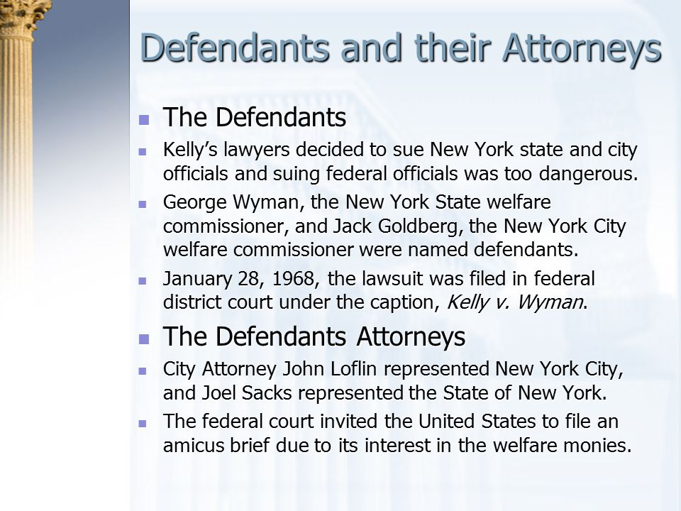 Defendants and their Attorneys The Defendants The Defendants Kelly's lawyers decided to sue New York state and city officials and suing federal offici