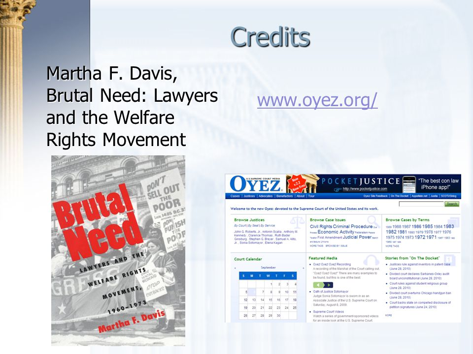 Credits Martha F. Davis, Brutal Need: Lawyers and the Welfare Rights Movement www.oyez.org/
