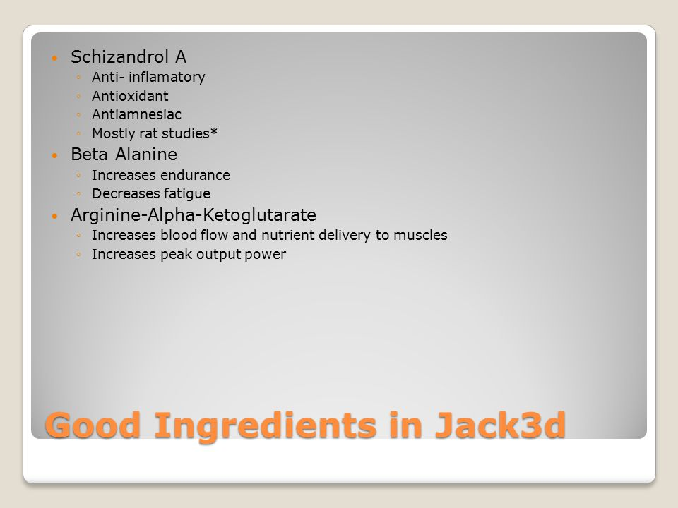 Good Ingredients in Jack3d Schizandrol A ◦Anti- inflamatory ◦Antioxidant ◦Antiamnesiac ◦Mostly rat studies* Beta Alanine ◦Increases endurance ◦Decreases fatigue Arginine-Alpha-Ketoglutarate ◦Increases blood flow and nutrient delivery to muscles ◦Increases peak output power