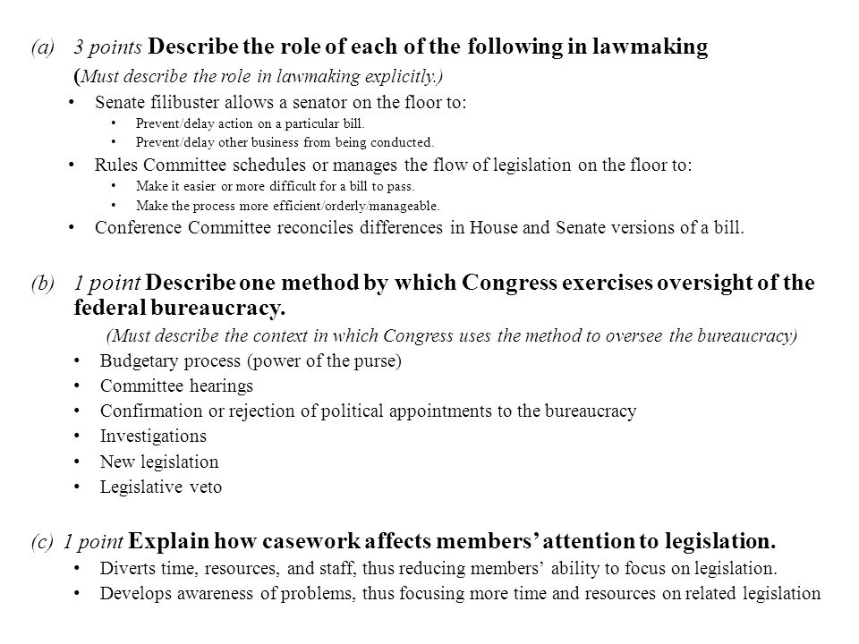 (a)3 points Describe the role of each of the following in lawmaking ( Must describe the role in lawmaking explicitly.) Senate filibuster allows a sena