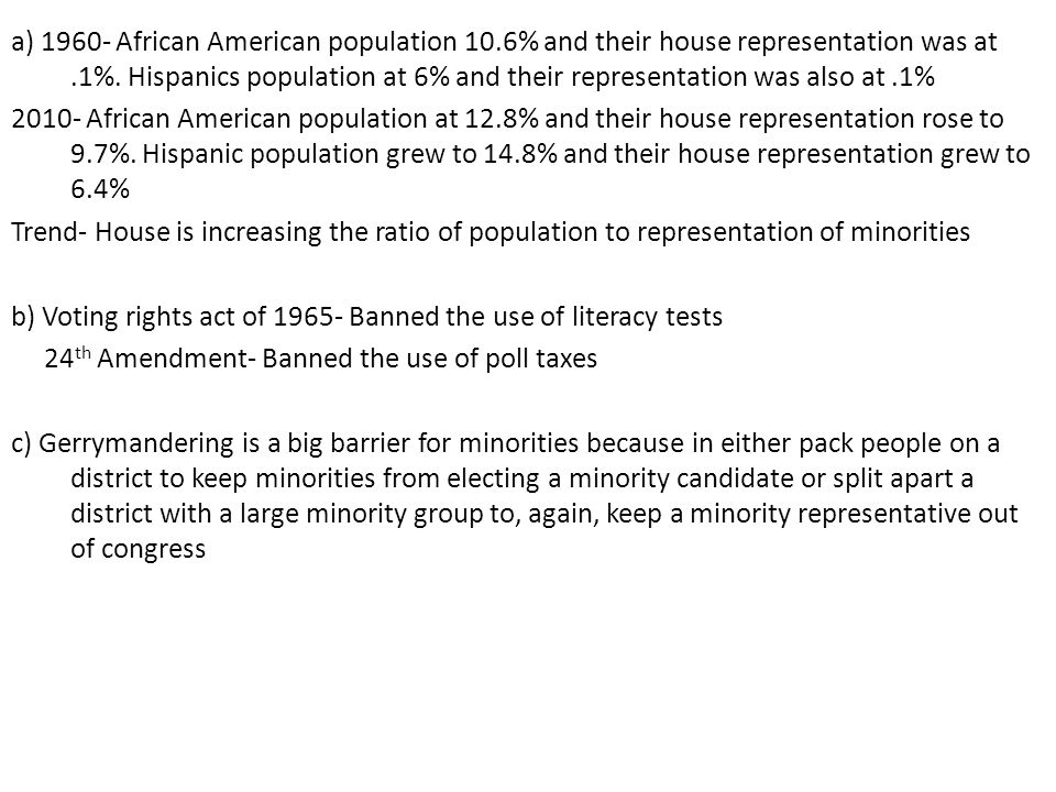 a) 1960- African American population 10.6% and their house representation was at.1%. Hispanics population at 6% and their representation was also at.1