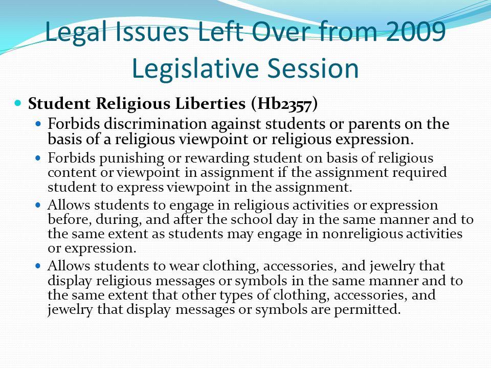 Legal Issues Left Over from 2009 Legislative Session Brewer v.