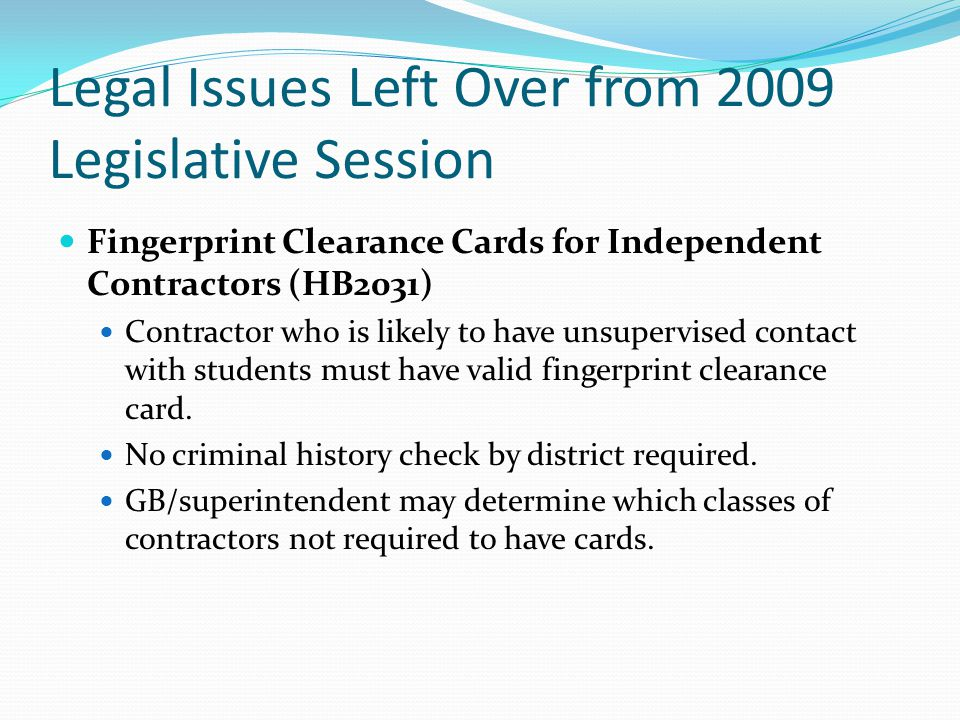Legal Issues Left Over from 2009 Legislative Session Prohibition on Funding of Early K Repeaters (HB2011) Provision that prohibited funding of a student that was enrolled at age of 4 (turning 5 by end of Dec.) who repeated Kindergarten the following year Questions: What about transfers from other districts/charters.