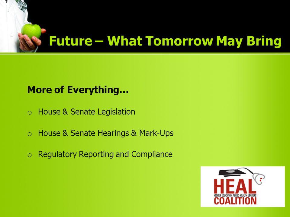 More of Everything… o House & Senate Legislation o House & Senate Hearings & Mark-Ups o Regulatory Reporting and Compliance Future – What Tomorrow May Bring