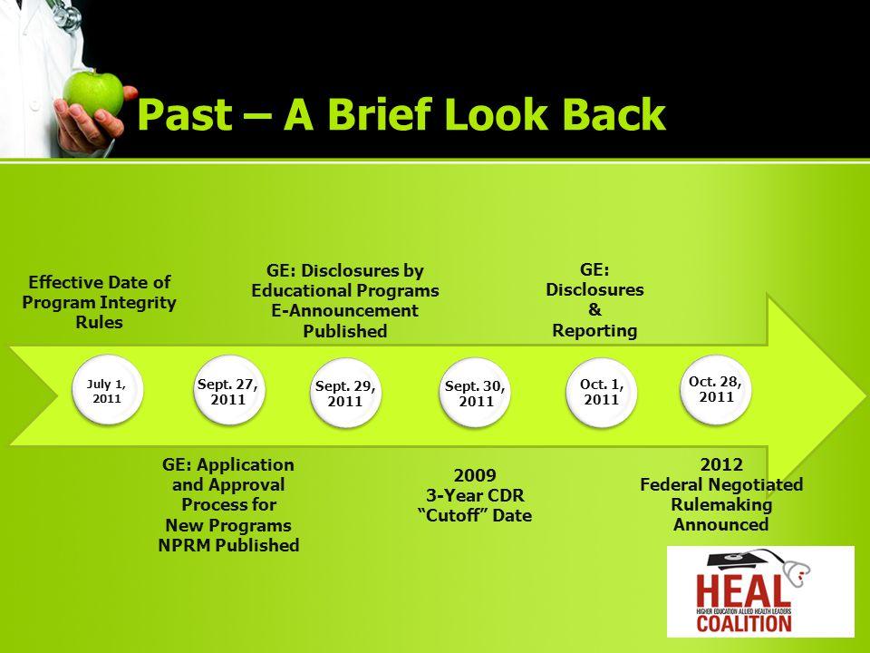 Past – A Brief Look Back Nov.14, 2011 Nov. 15, 2011 Nov.