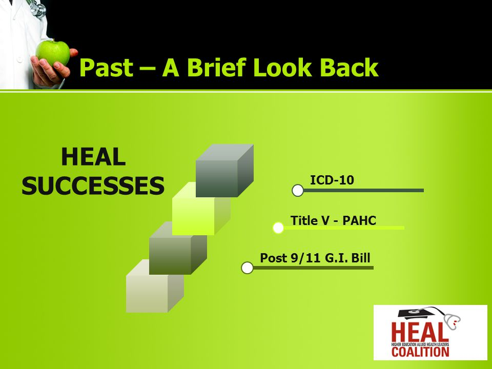HEAL SUCCESSES ICD-10 Title V - PAHC Post 9/11 G.I. Bill Past – A Brief Look Back