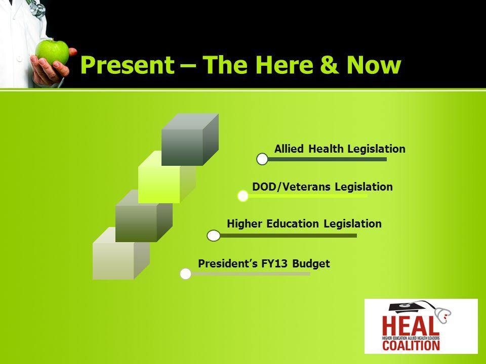 Allied Health LegislationDOD/Veterans Legislation Higher Education Legislation President's FY13 Budget Present – The Here & Now