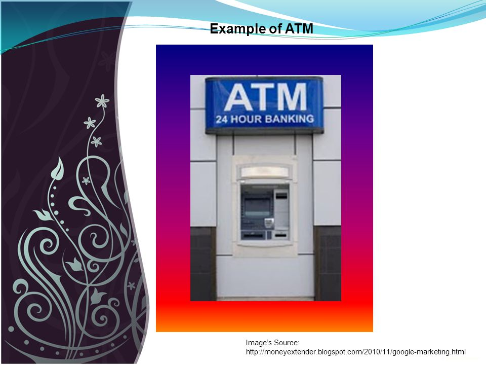 Example of ATM Image's Source: http://moneyextender.blogspot.com/2010/11/google-marketing.html