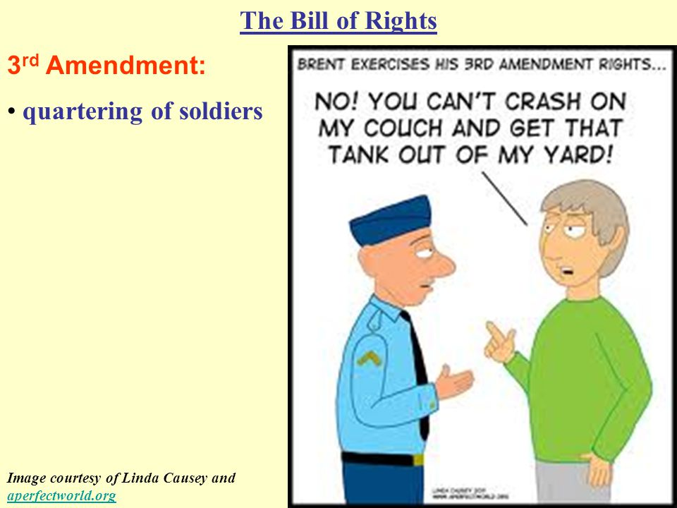 4 th Amendment: The Bill of Rights protection against unreasonable searches and seizures Image courtesy of Stu's Law CartoonsStu's Law Cartoons