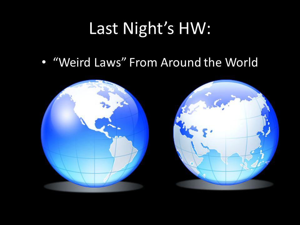 Last Night's HW: Weird Laws From Around the World